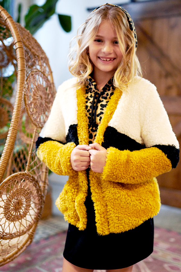 Big Girls Color Blocked Fur Cardigan Jacket