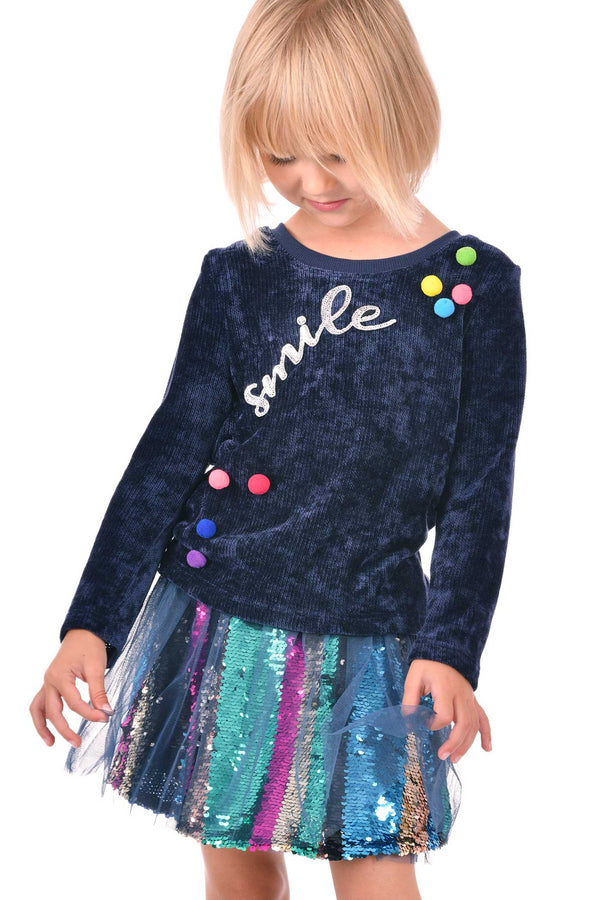 Little Girls Long Sleeve Top with Pom-Poms