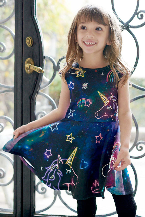Girls Neon Unicorn Fantasy Skater Dress