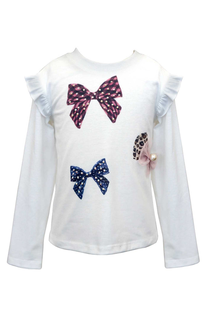 Girls Long Sleeve Bow Graphic T-shirt