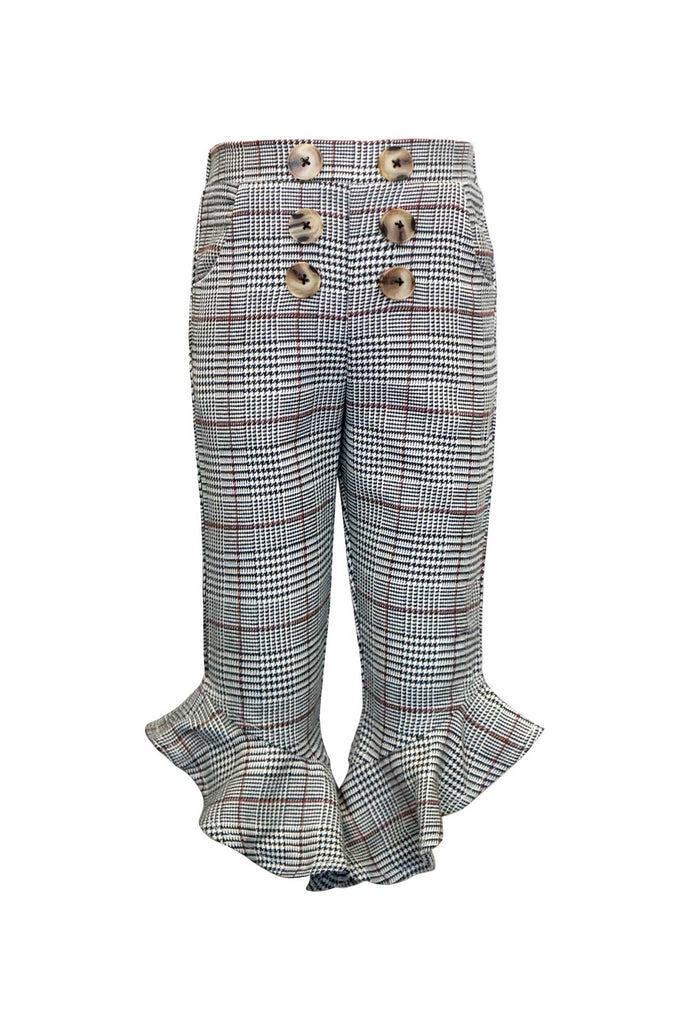 Girls Ruffled Capri Plaid Pants