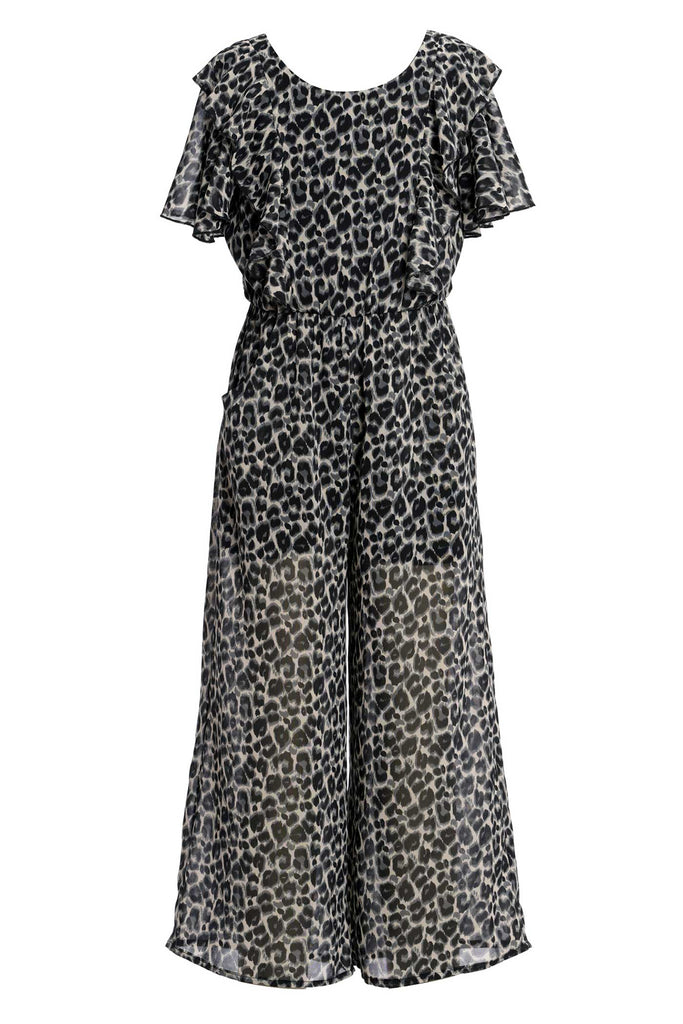 Big Girls Animal Print Chiffon Jumpsuit