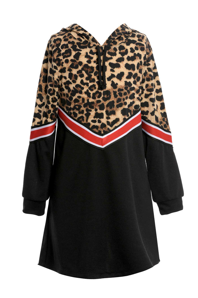 Big Girls Hooded Animal Print Sweatshirt Dress