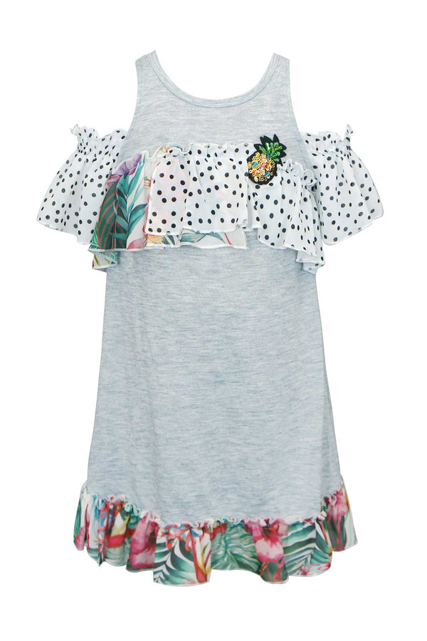Girls Tropical Print Cold Shoulder Jersey Dress