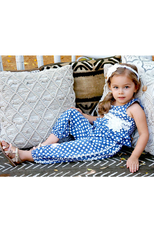 Toddler Girls Little Girls Sleeveless Polka Dot Jumpsuit