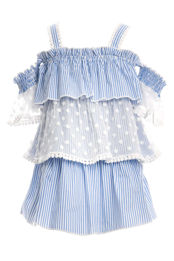 Baby Sara Toddler Girls Little Girls Cold Shoulder Striped Dress
