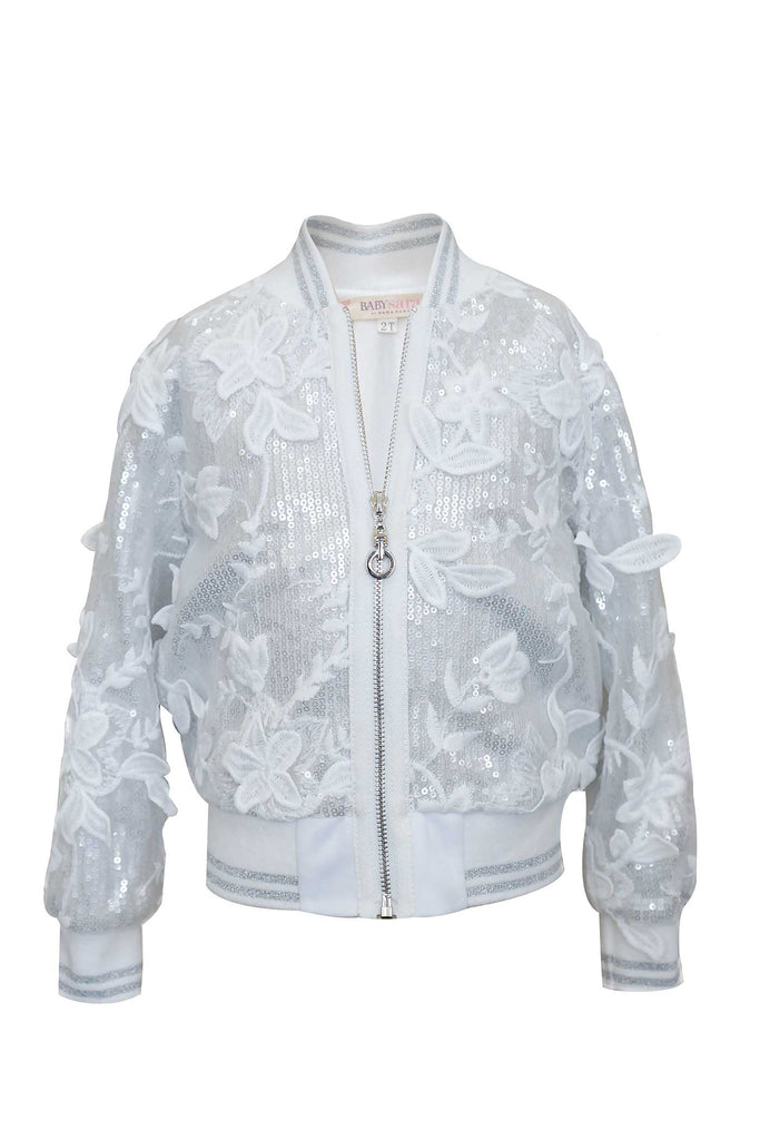 Toddler Girls Little Girls Sequin and Lace Bomber Jacket