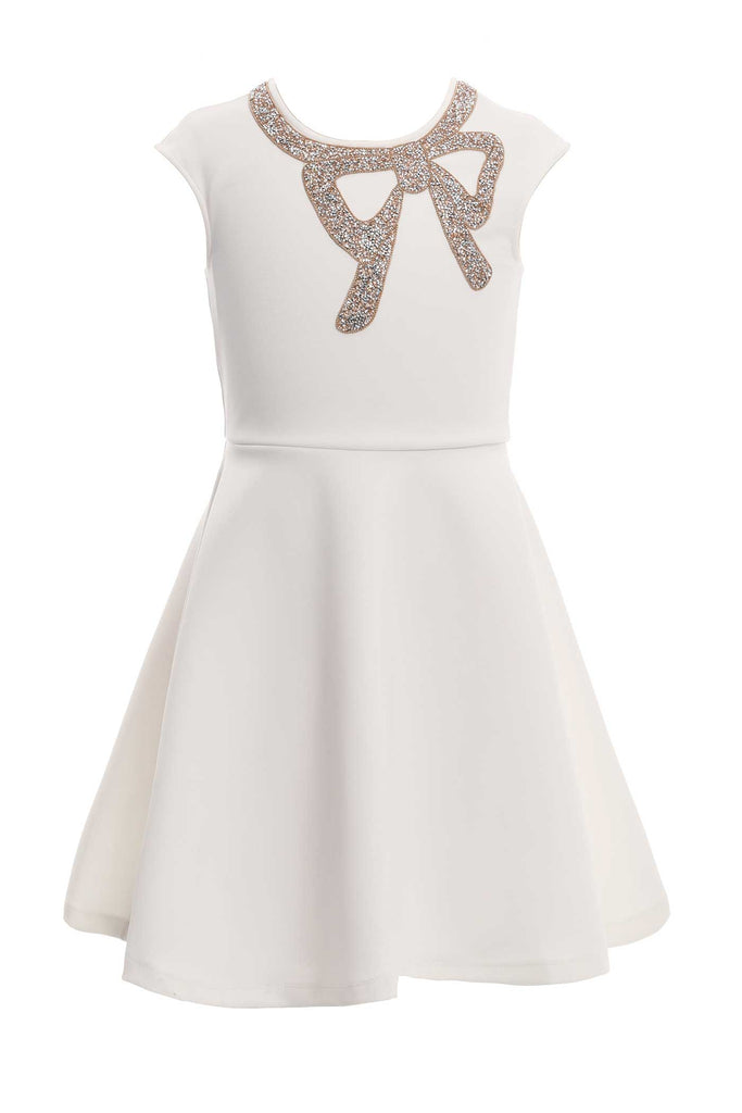 Girls Fit and Flare Jewel Bow Dressy Party Dress