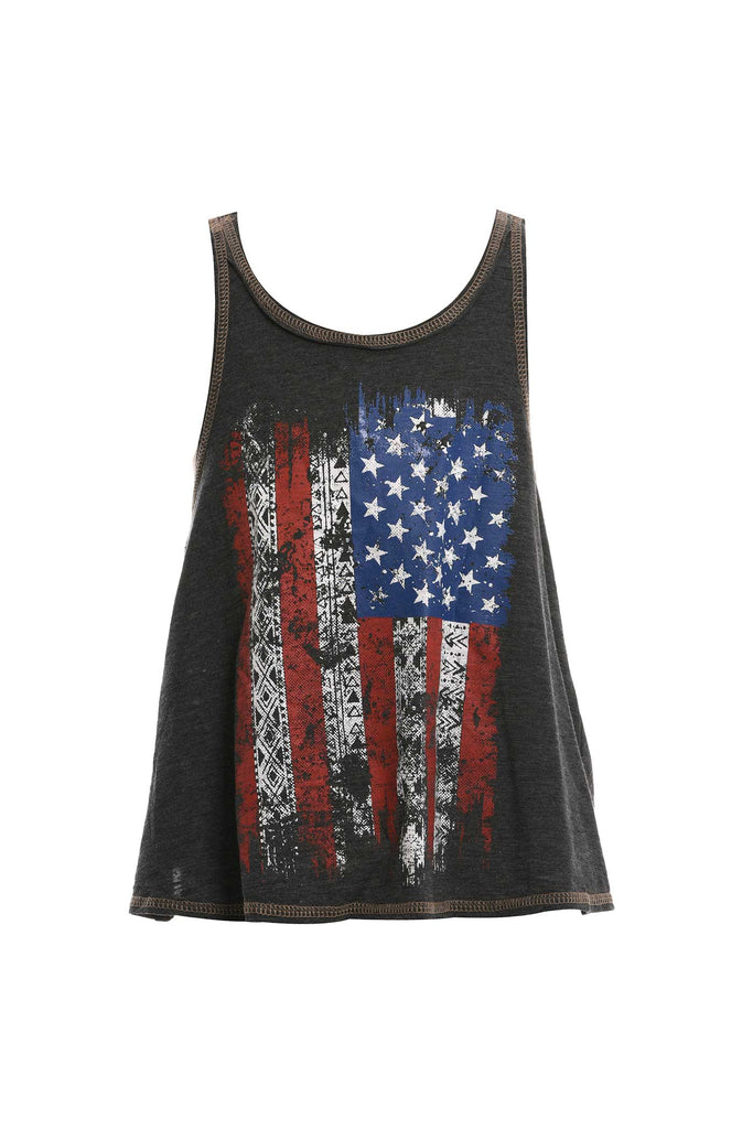 Big Girls USA Flag Graphic Crossed Back Tank Top