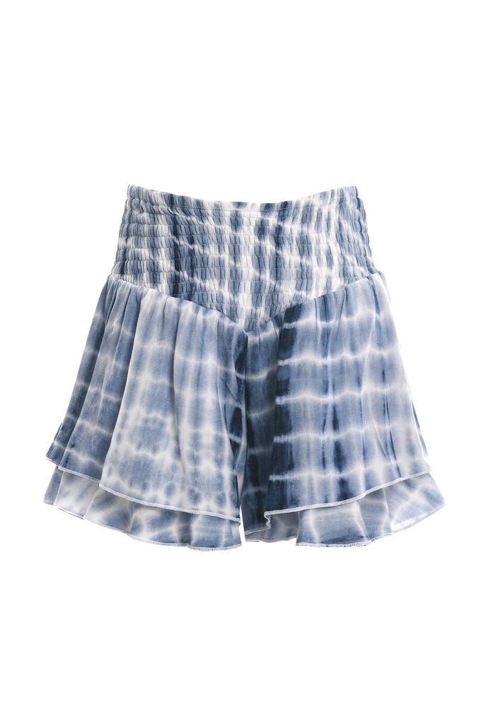 Big Girls Tie Dye Smocked Ruffle Shorts