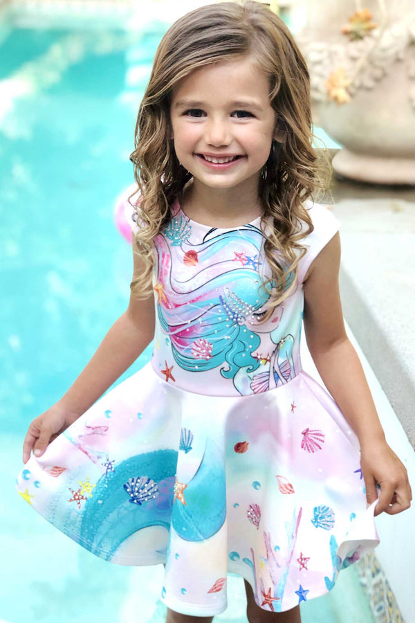 Little Girls Mermaid Fit and Flare Skater Dress