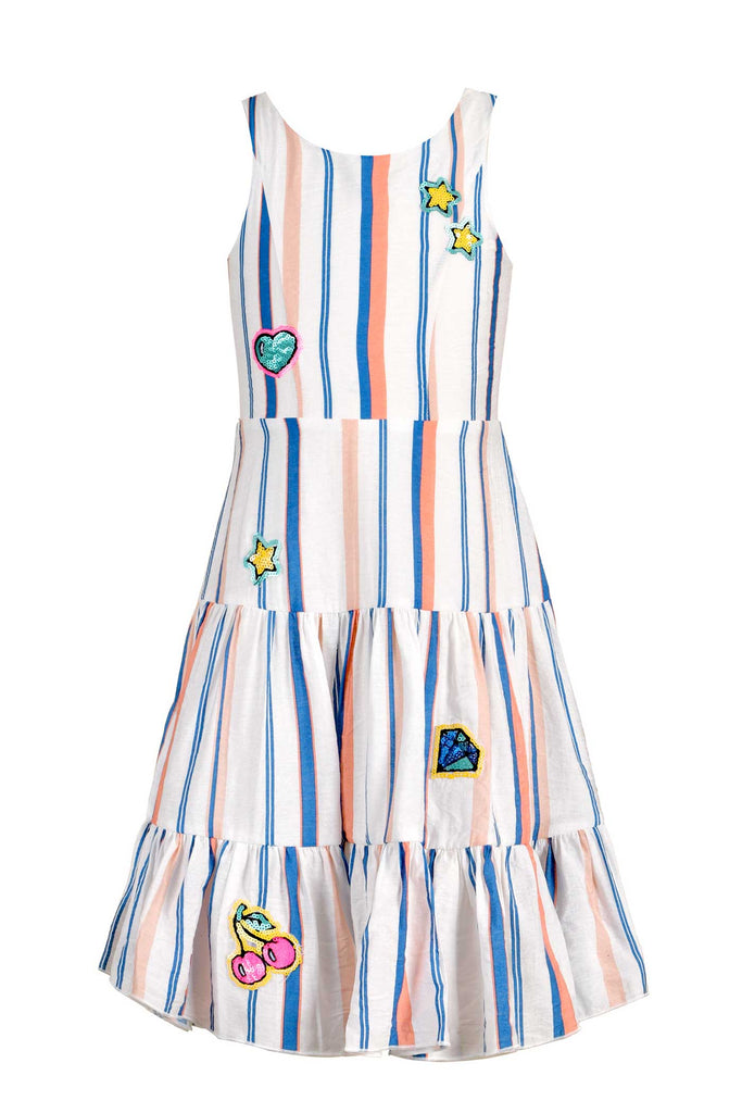 Little Girls | Big Girls Striped Midi Summer Dress