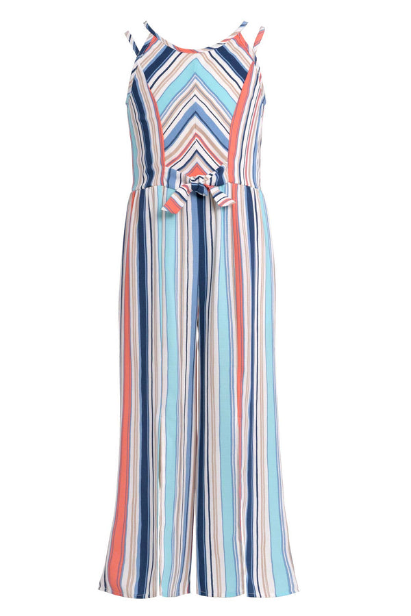 Big Girls Tie Front Striped Sleeveless Jumpsuit