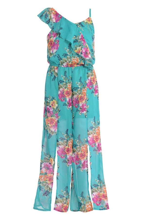 big girls tween girls floral print spring summer ruffle jumpsuit