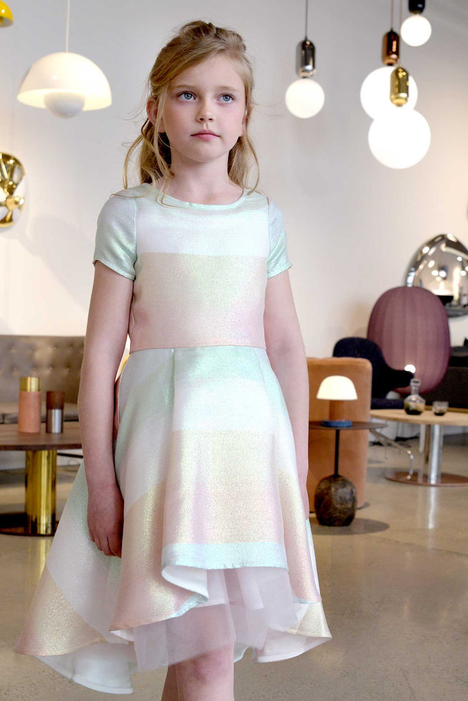 Big Girls Pastel Striped Fit and Flare High Low Party Dress