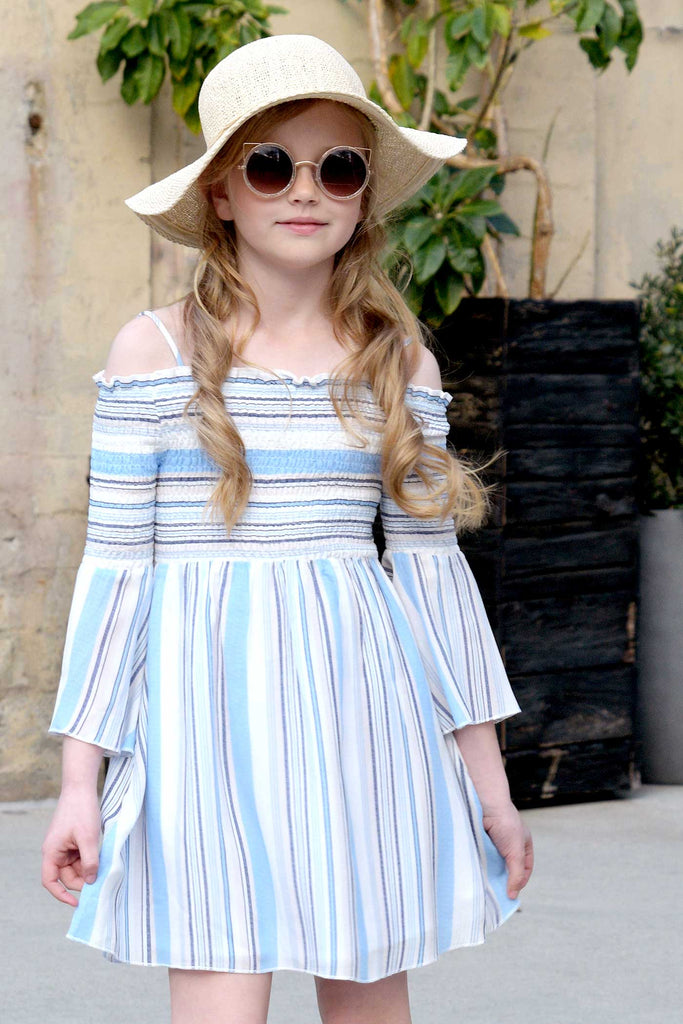Big Girls Off The Shoulder Striped Summer Dress