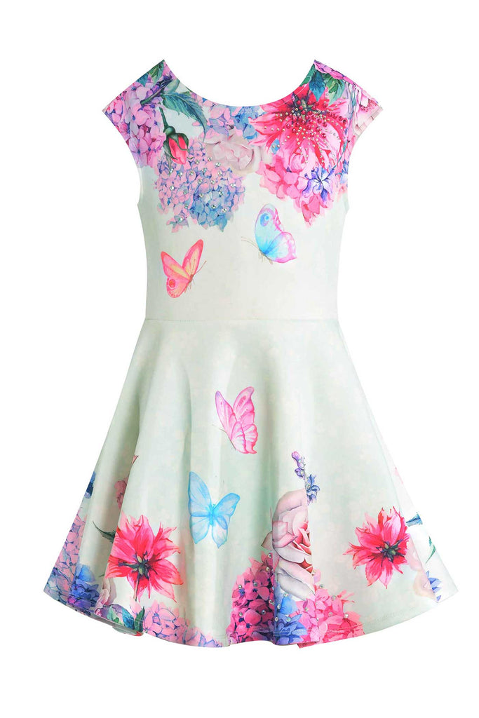 Girls Floral Print Cap Sleeve Fit and Flare Summer Skater Dress