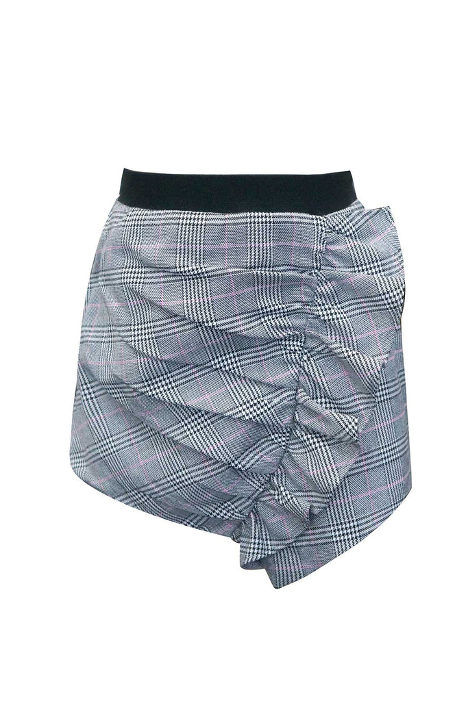 Girls Asymmetrical Ruffled Plaid Skorts