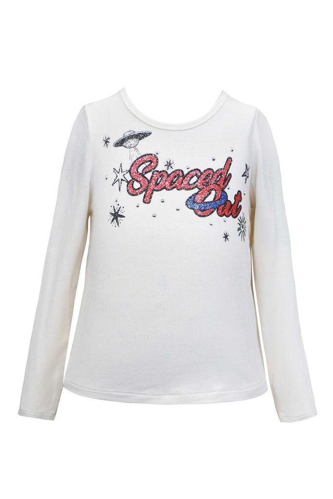 Girls Spaced Out Long Sleeve Glitter Graphic T-shirt