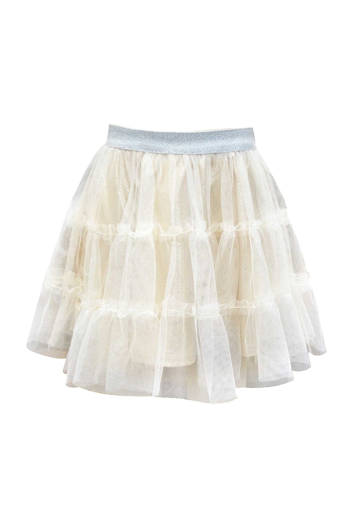 Girls Metallic Tutu Skirt with Tiered Mesh Overlay