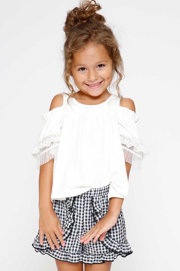 Hannah Banana Little Girls Frilled Faux-Wrap Gingham Shorts