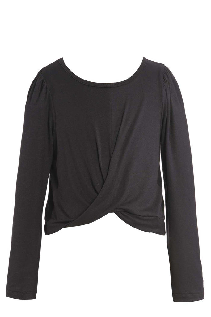 Hannah Banana Big Girls Twisted Front Long Sleeve Top