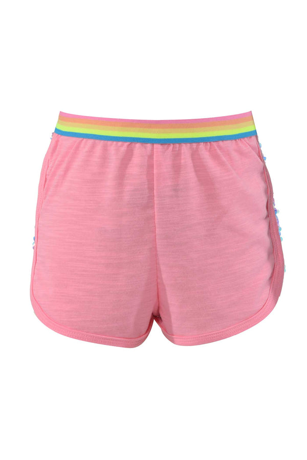 Hannah Banana Girls Pink Holographic Sequin Trimmed Dolphin Shorts