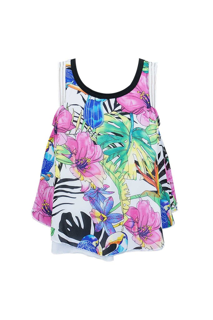 Hannah Banana Girls Sleeveless Tropical Print Chiffon Top