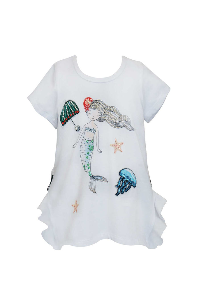 Hannah Banana Toddler Girls Short Sleeve Mermaid Graphic T-shirt