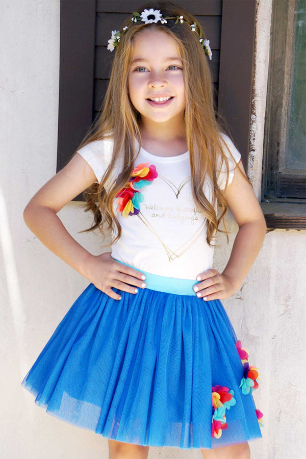 Hannah Banana Girls 3D Flower Trim Tutu Skirt