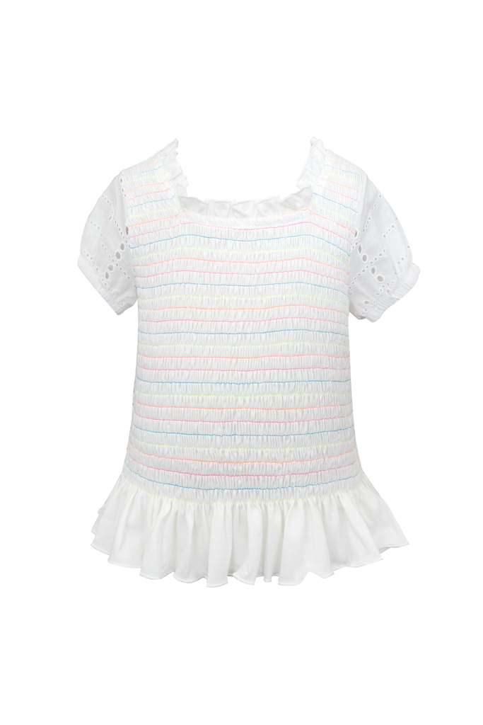 Girls Color Cord Smocked Eyelet Fashion Summer Top