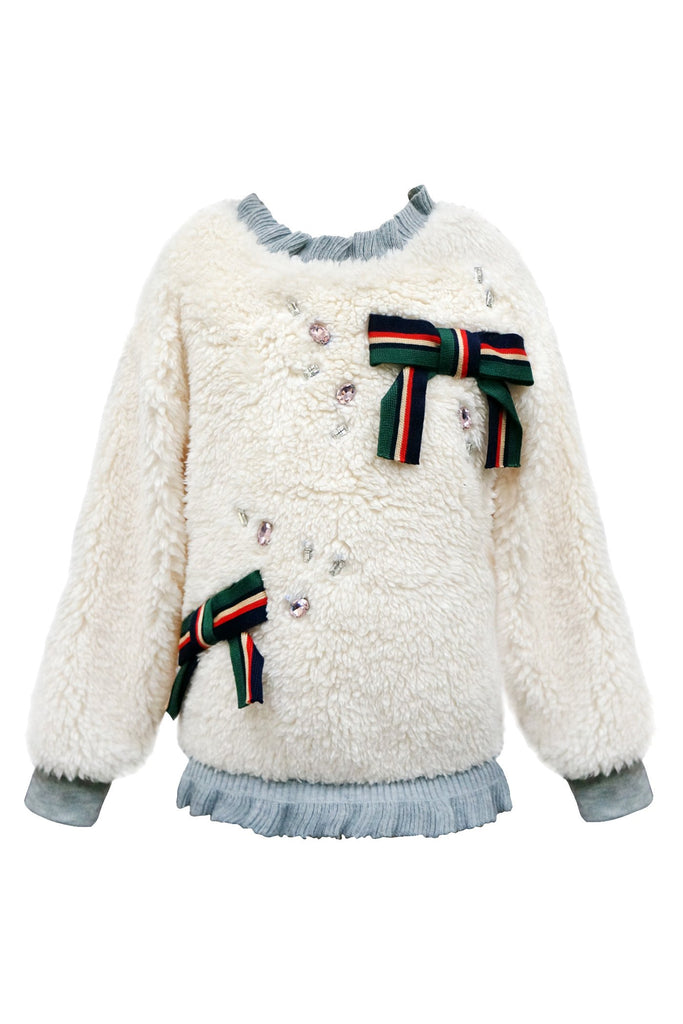 SHERPA SWEATSHIRT WITH BOWS AND RHINESTONES