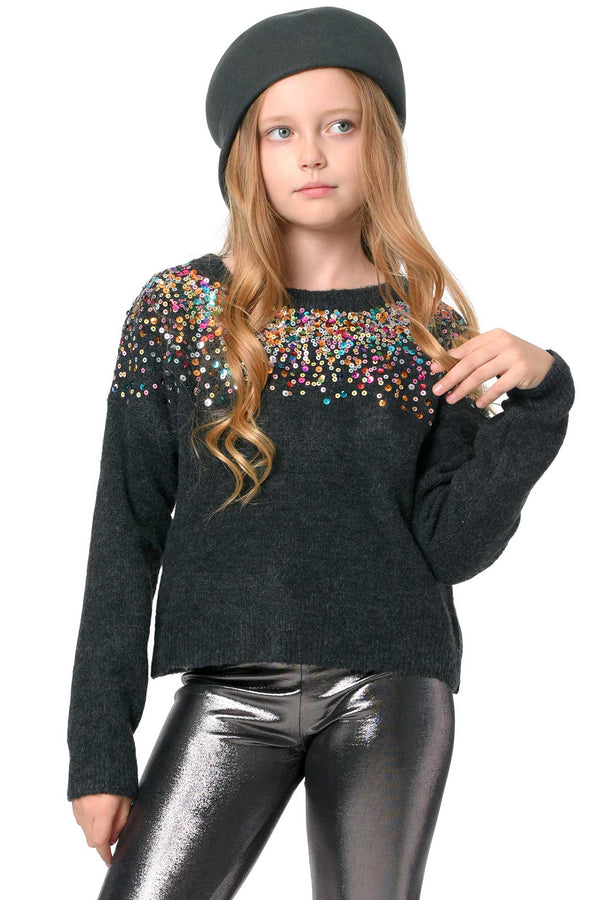 Hannah Banana Big Girls Colorful Sequin Embroidered Sweater