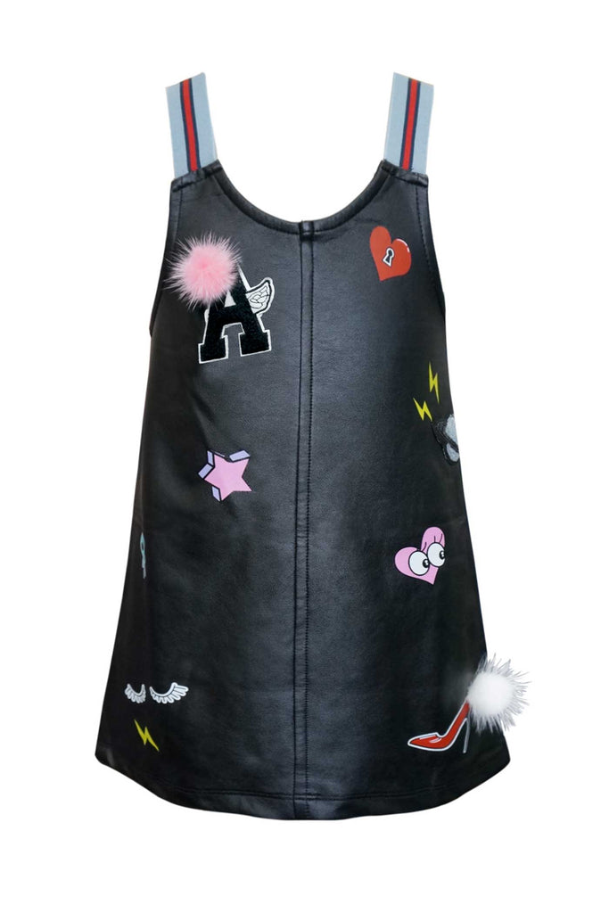 Hannah Banana Little Girls Faux Leather Playful Overall Dress