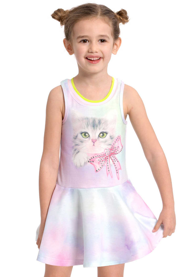 Girls Dropped Waist Tie-Dye Kitty Racerback Tennis Dress