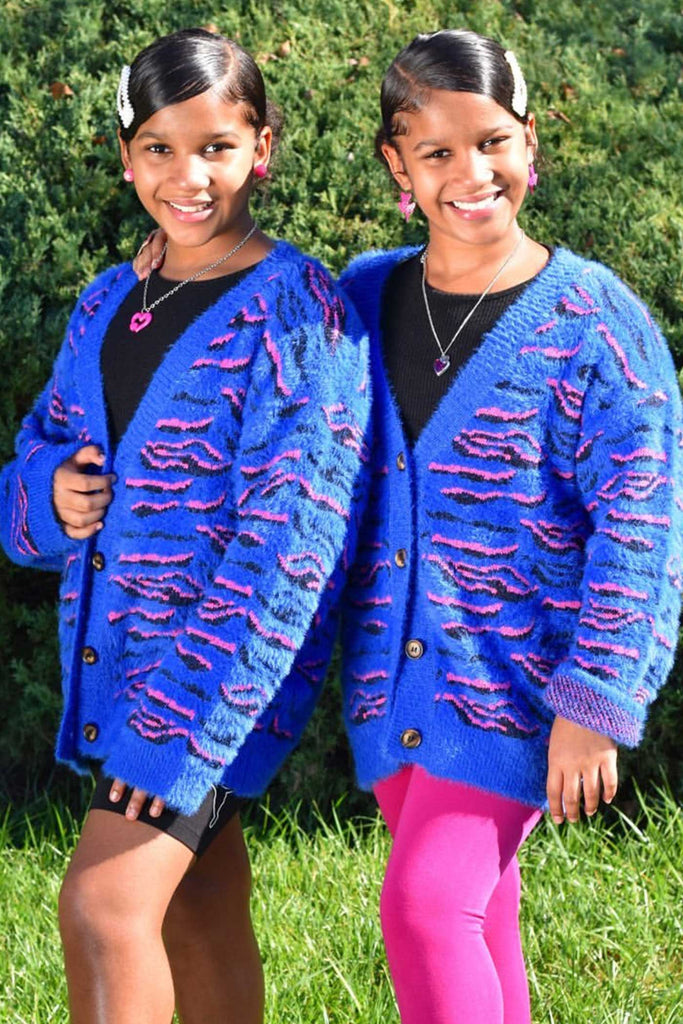Hannah Banana Big Girls Blue Tiger Pattern Fuzzy Fashion Cardigan