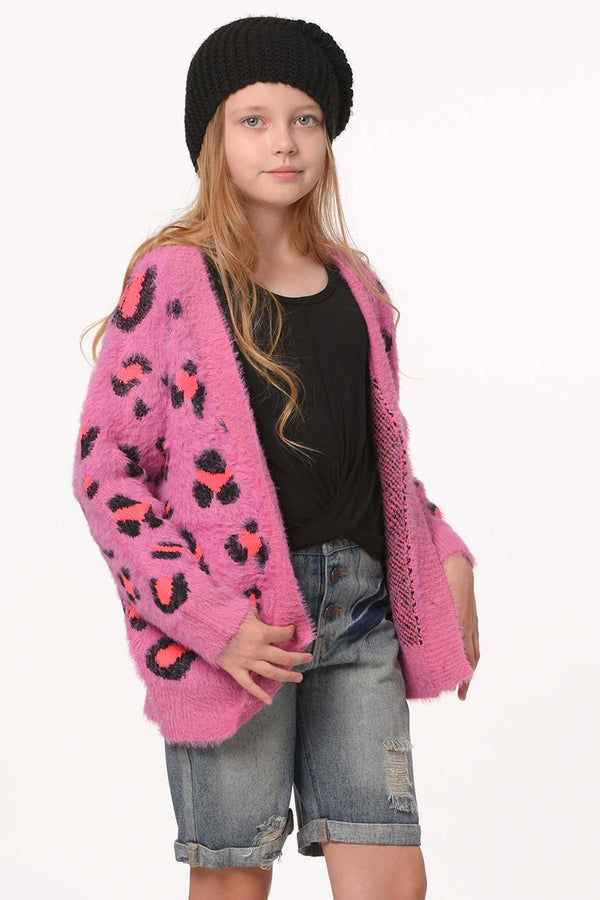 Hannah Banana Big Girls Pink Leopard Fuzzy Fashion Cardigan