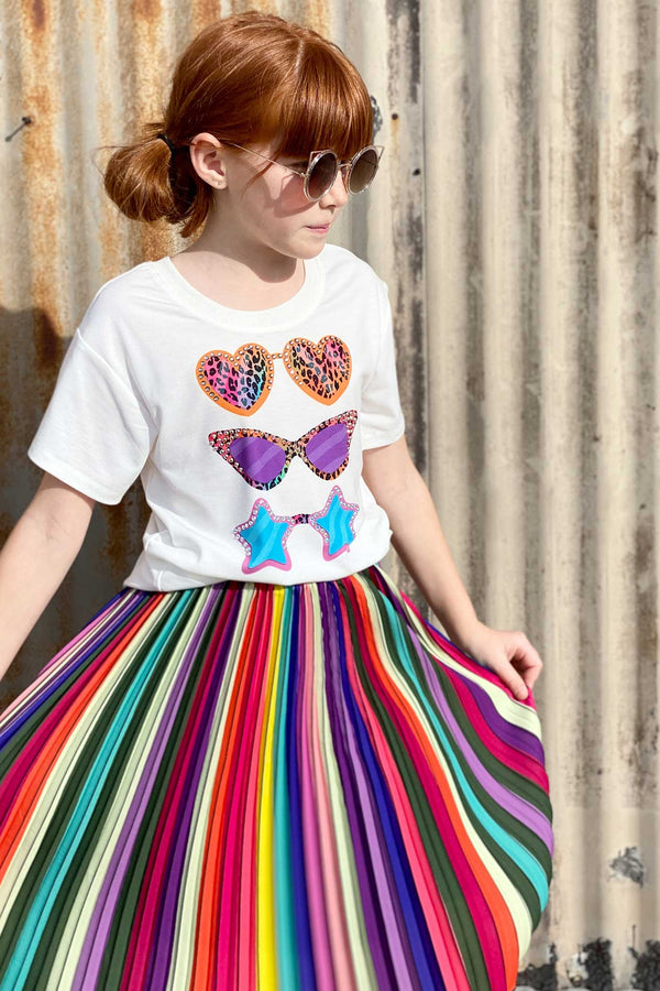 Hannah Banana Girls Rainbow Pleated Midi Skirt