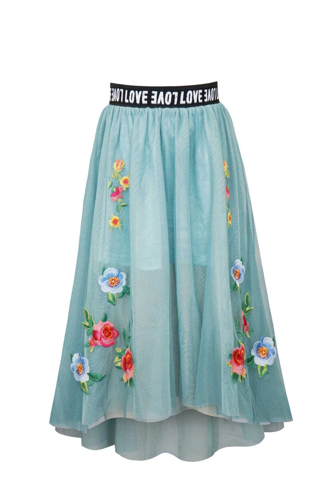 Hannah Banana Girls Floral Embroidered High-Low Long Tutu Skirt