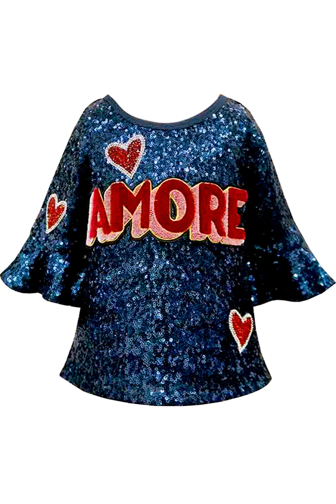 Hannah Banana Girls Amore Love Sequin Top