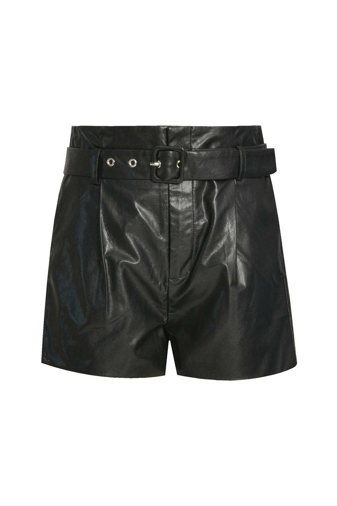 Hannah Banana Girls Faux Leather Fashion Shorts With Belt