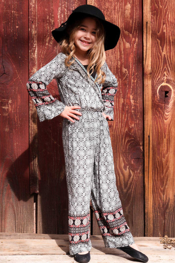 Little Girls Long Sleeve Border Print Boho Jumpsuit