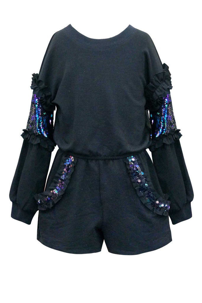 Hannah Banana Little Girls Sequin Trimmed Long Sleeve Romper
