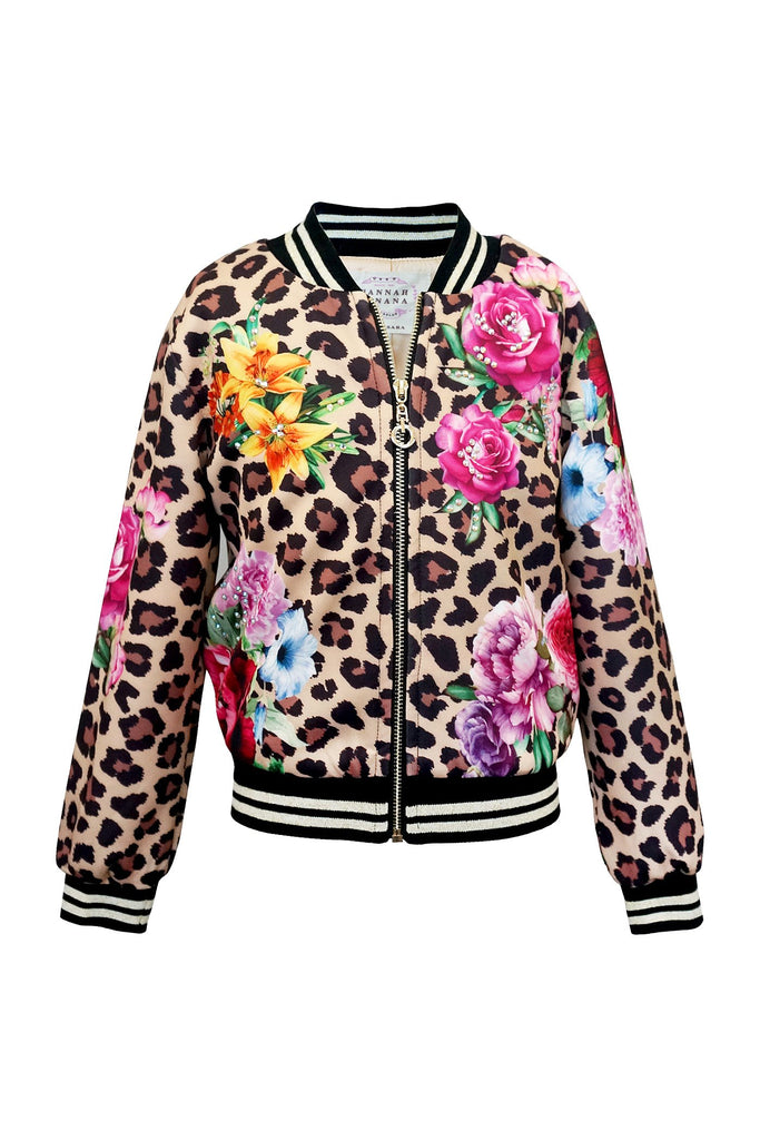 LEOPARD AND FLORAL PRINT BOMBER JACKET