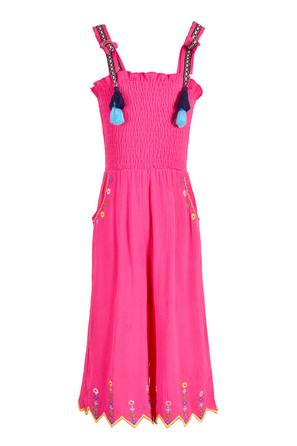 Hannah Banana Girls Fuchsia Smocked Tops Embroidered Jumpsuit