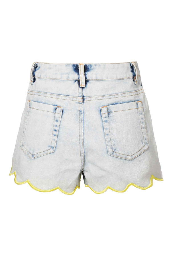 Hannah Banana Girls Scallop Hem Washed Denim Shorts