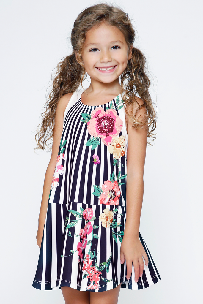 Little Girls Sleeveless Dropped Waist Floral and Stripe Print Dress