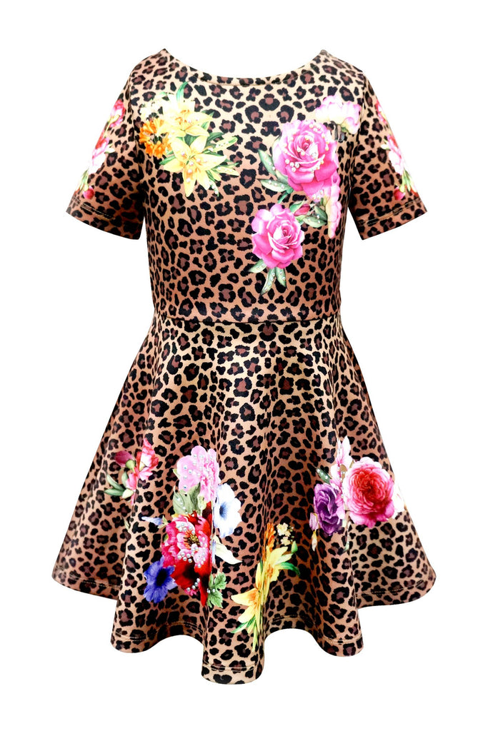 SKATER DRESS WITH LEOPARD AND FLORAL PRINT