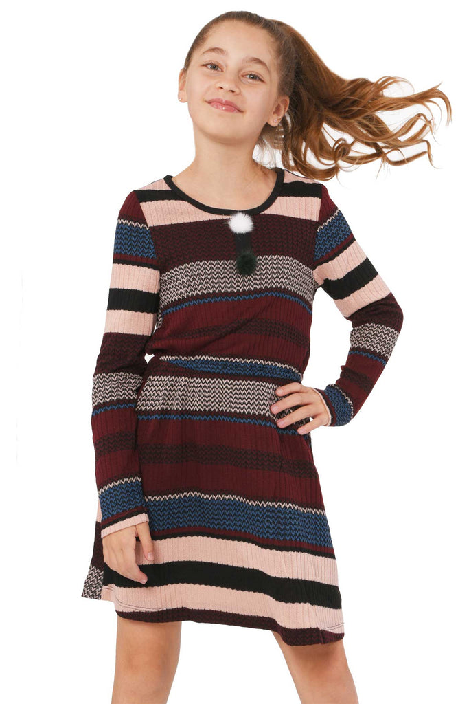 Truly Me Big Girls Striped Sweater Knit Long Sleeve Dress
