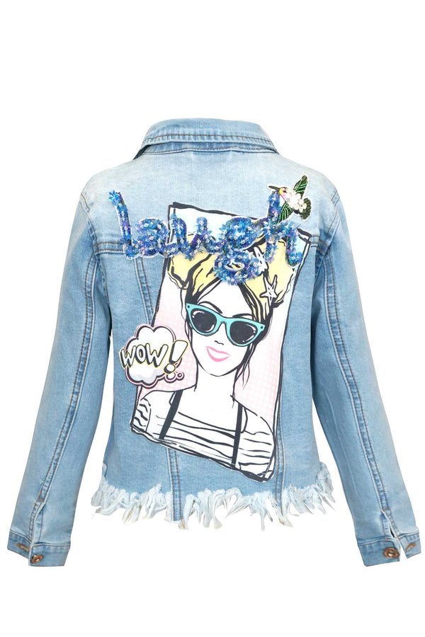 Hannah Banana Little Girls Pop Art Girl Washed Denim Jacket